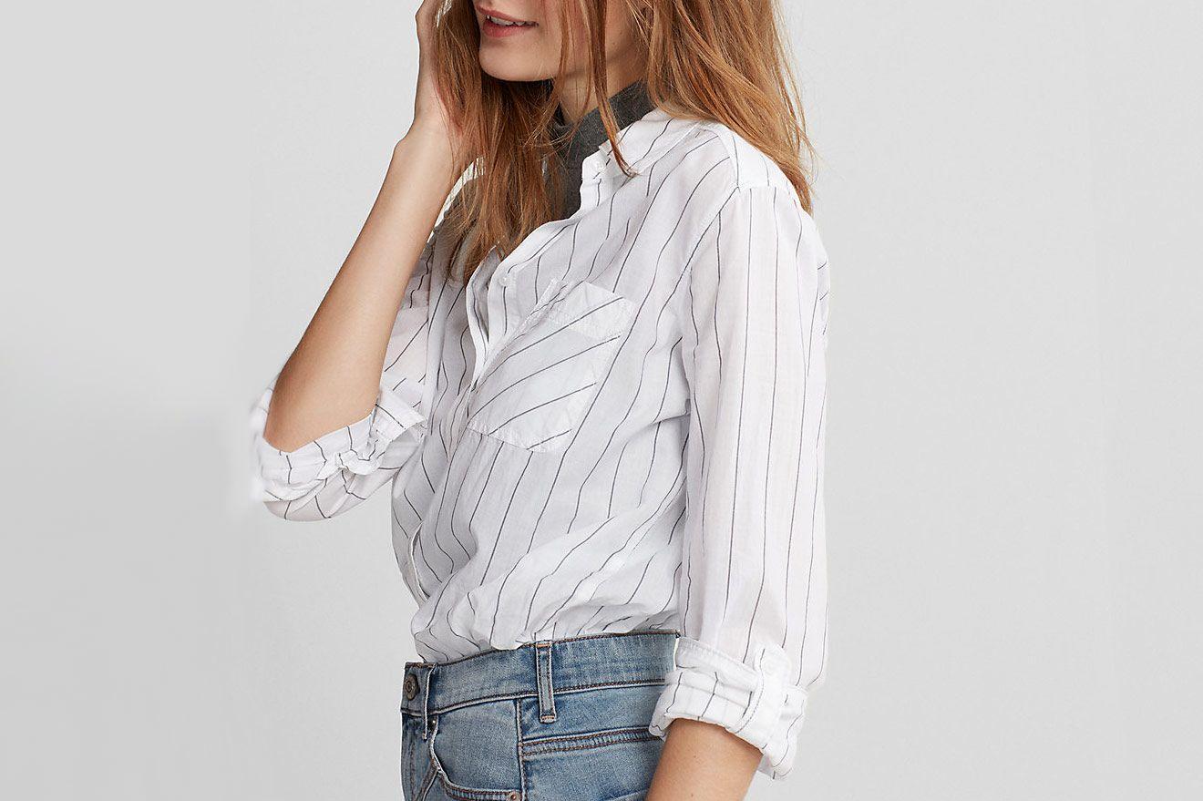 Striped One Pocket Cotton Boyfriend Shirt