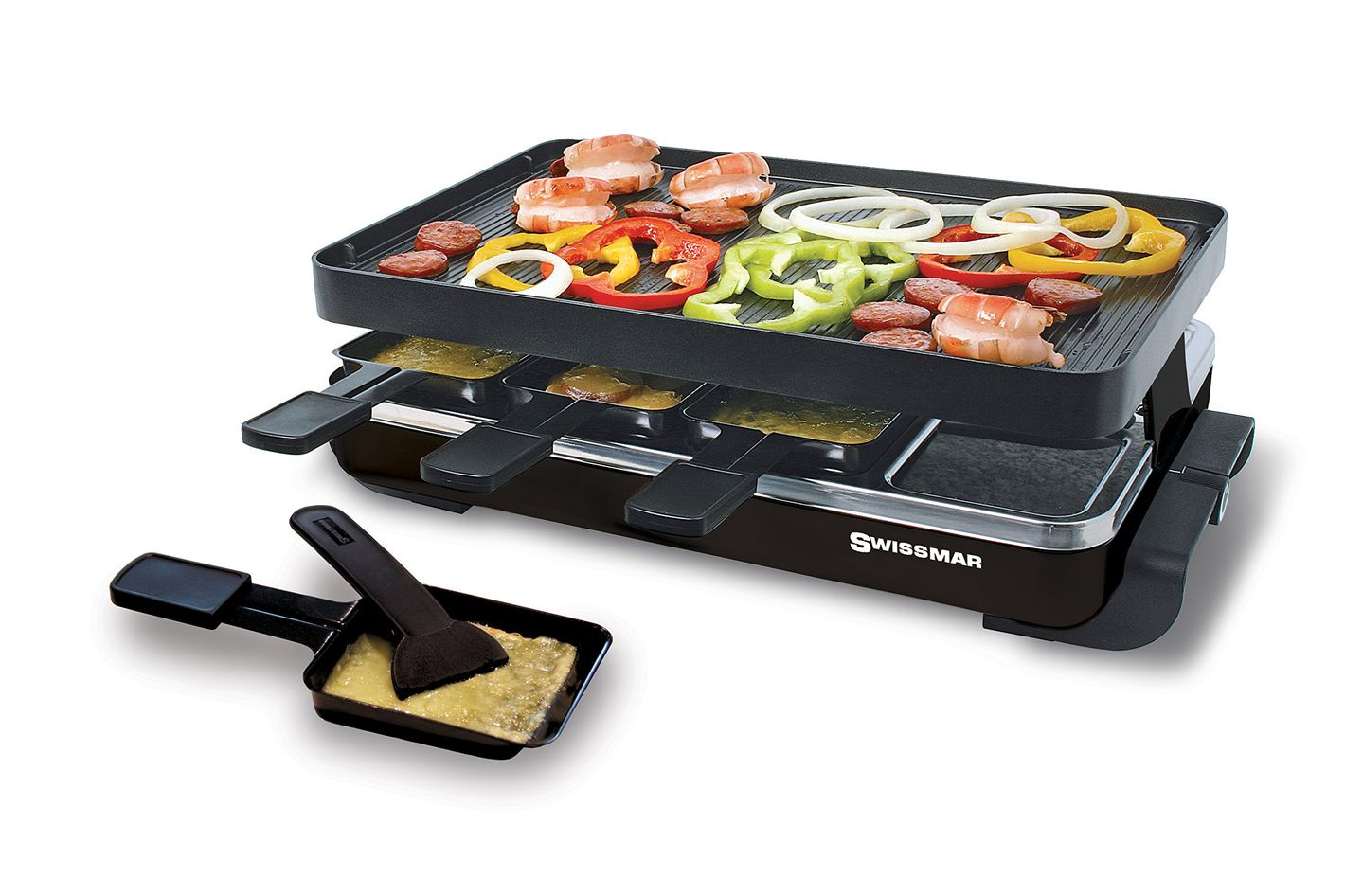 Swissmar KF-77041 Classic 8-Person Raclette with Reversible Cast Aluminum Non-Stick Grill Plate/Crepe Top, Black