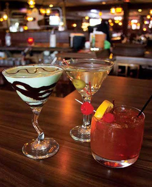 But what they all have is food and drink. Here are three classic supper club drinks: the Grasshopper, the Martini, and most popular of all, the Brandy Old Fashioned Sweet. (Jones' Black Angus, Prairie Du Chien)