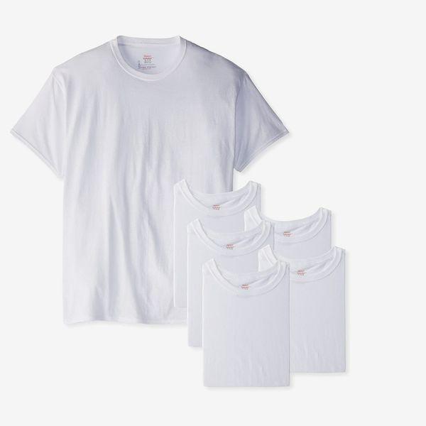 Hanes Classic Men's White Crew Neck T-Shirt, Pack of 6