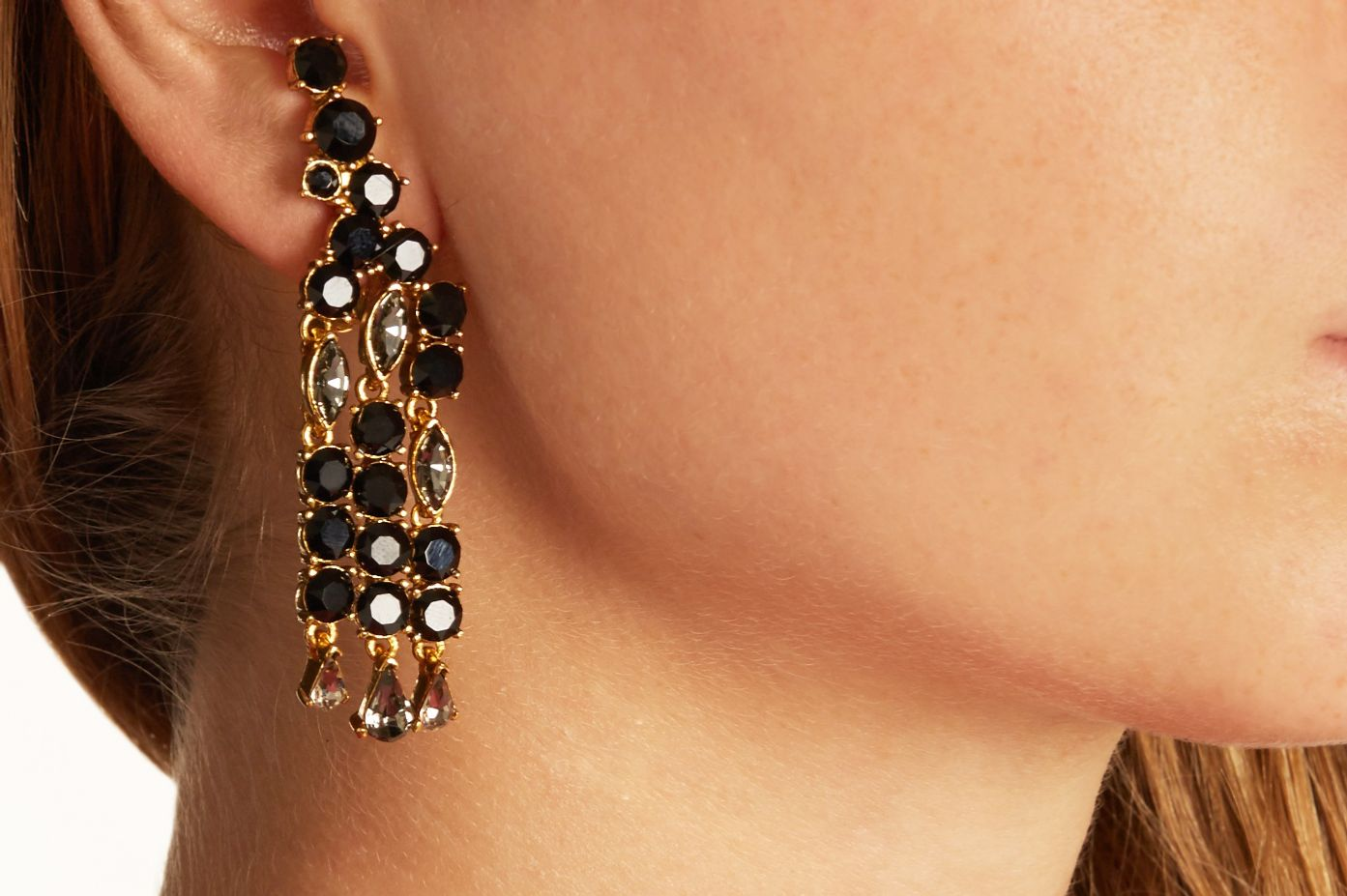 Oscar De La A Crystal Embellished Clip On Earrings