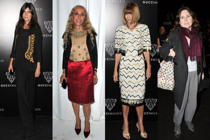 From left: Emmanuelle Alt, Franca Sozzani, Anna Wintour, and Alexandra Shulman.