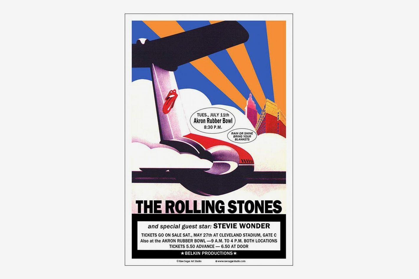 Raw Sugar Art Studio Rolling Stones / Stevie Wonder 1972 Akron Concert Poster