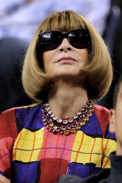 NEW YORK, NY - AUGUST 29:  Editor in Chief of Vogue Anna Wintour watches Roger Federer of  Switzerland play against Santiago Giraldo of Colombia during Day One of the 2011 US Open at the USTA Billie Jean King National Tennis Center on August 29, 2011 in the Flushing neighborhood of the Queens borough of New York City.  (Photo by Matthew Stockman/Getty Images)