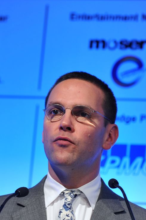 Chairman and chief executive,News Corporation Europe and Asia  James Murdoch speaks during the inauguration of the Fedration of Indian Chambers of Commerce and industry (FICCI) frames in Mumbai on March 23, 2011. Murdoch said that digitization and competition had the prospect of raising the size of India's media and entertainment sector from US$ 15 billion to US$ 120 billion as the creative sector could grow in proportion to its size in other advanced economies. AFP PHOTO/Sajjad HUSSAIN (Photo credit should read SAJJAD HUSSAIN/AFP/Getty Images)