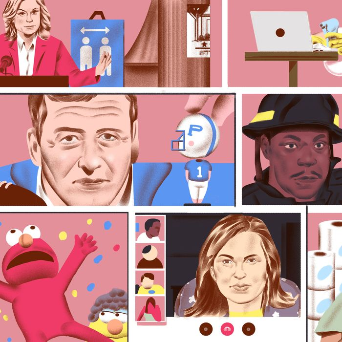 Clockwise from top-right: Niles in Frasier, Tracy in 30 Rock, Sawyer in Lost, Olivia Benson in Law & Order: SVU, Elmo in Sesame Street, Coach Taylor in Friday Night Lights, and Leslie Knope in Parks and Recreation.