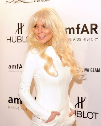 NEW YORK, NY - FEBRUARY 08: Lindsay Lohan attends the amfAR New York Gala To Kick Off Fall 2012 Fashion Week Presented By Hublot at Cipriani Wall Street on February 8, 2012 in New York City. (Photo by Jemal Countess/Getty Images)