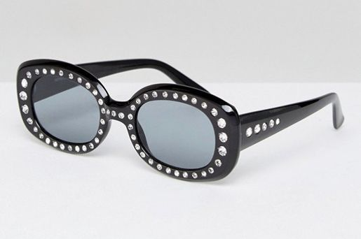 '90s Square Embellished Sunglasses