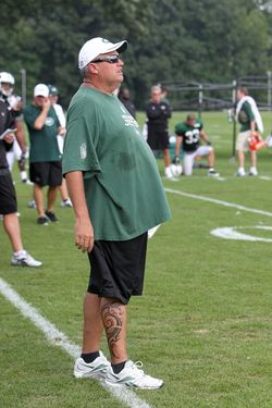Head Coach Rex Ryan of the New York Jets during Training Camp at NY Jets Practice Facility on August 7, 2011.
