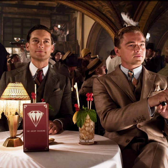 Tobey Maguire and Leonardo DiCaprio in their Brooks Brothers costumes.