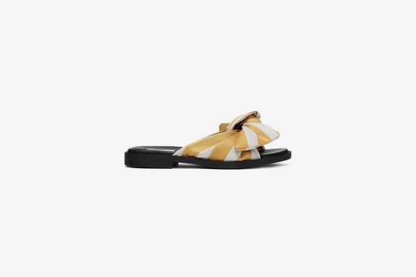 Miista Knotted Gingham Jacquard Slides