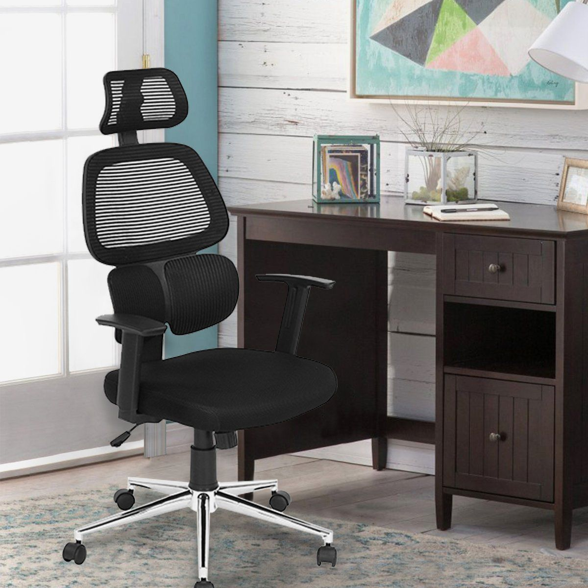 black ergonomic mesh office chair with adjustable lumbar support