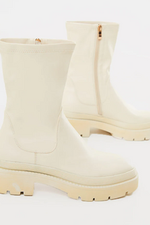 PrettyLittleThing Cream Pu Ribbed Detail Chunky Sole Sock Ankle Boots