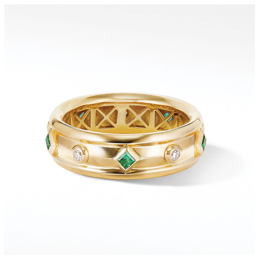 Modern Renaissance Ring in 18K Yellow Gold with Emeralds and Diamonds