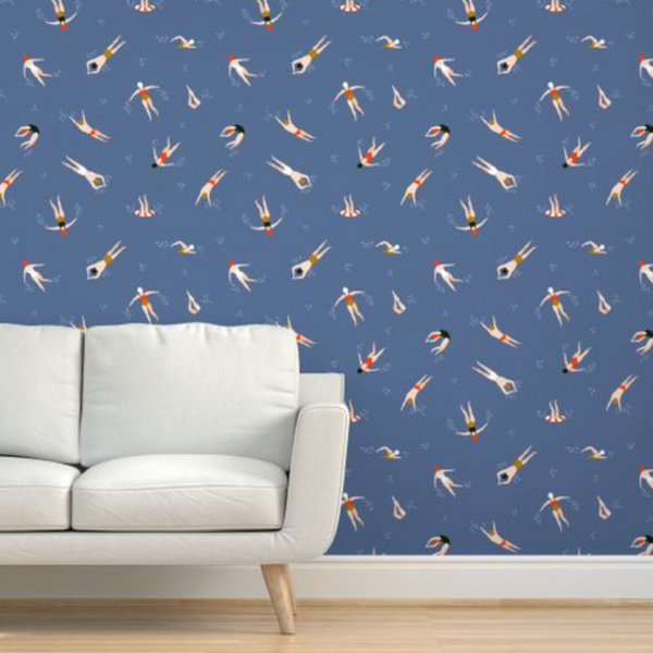 Spoonflower Peel and Stick Removable Wallpaper - Cute Swimmers