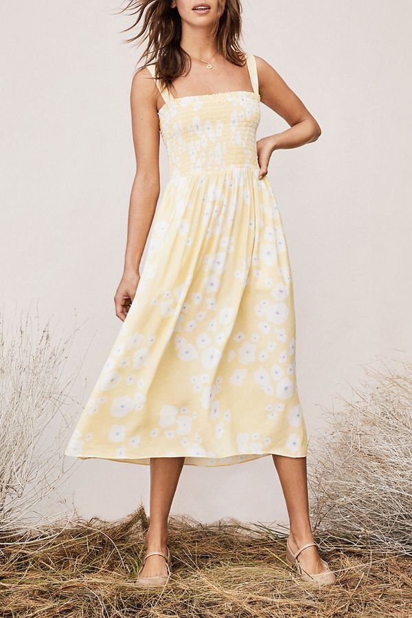 Buttercup Chiffon Smocked Midi Dress