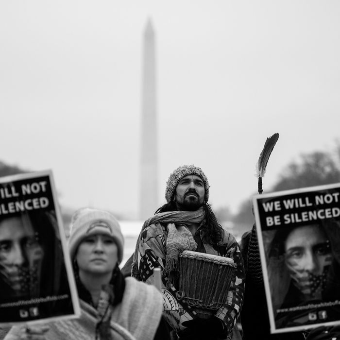 Activists at the Indigenous Peoples March in Washington.