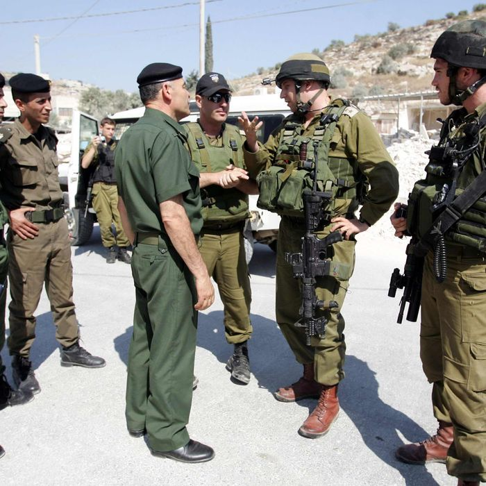 Israeli soldiers (R) and Palestinian security officers (L) talk during a joint minefield removal operation in the northern West Bank village of Qabatiya, near Jenin, on July 05, 2010.