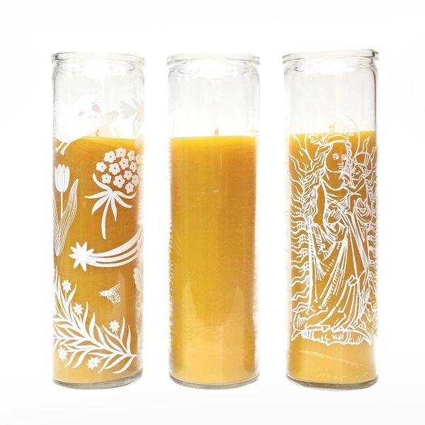 Alysia Mazzella Glass Pillar Beeswax Candle