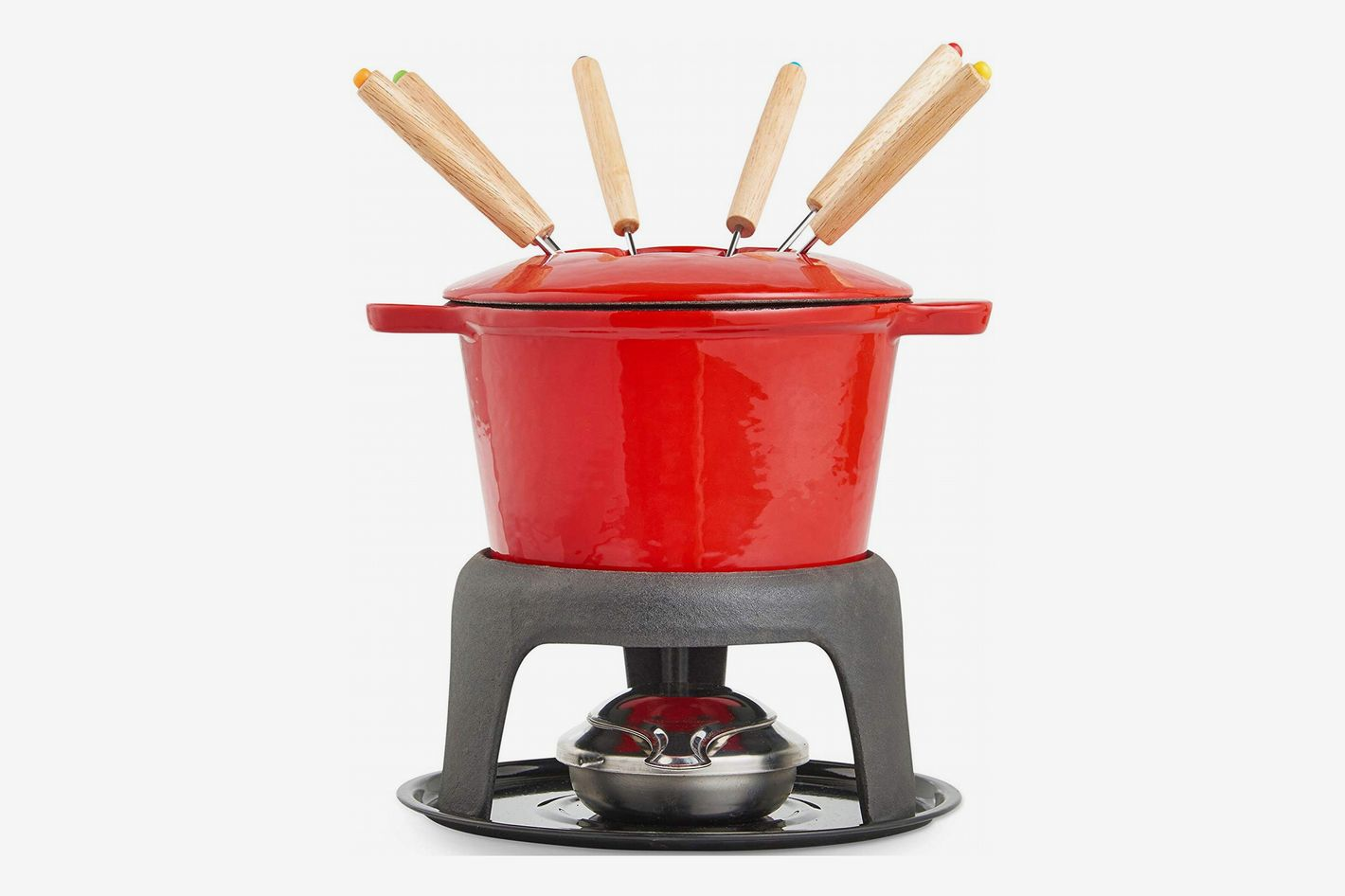 VonShef Cast Iron Porcelain Enamel Fondue Pot Set With 6 Fondue Forks, 1.6-Quart Capacity, Red, 12-Pc. Set