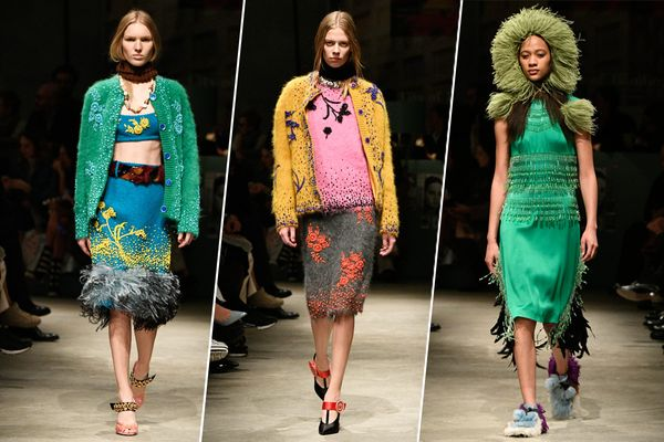 Miuccia Prada Went Crafty and Cozy for Her Show Today