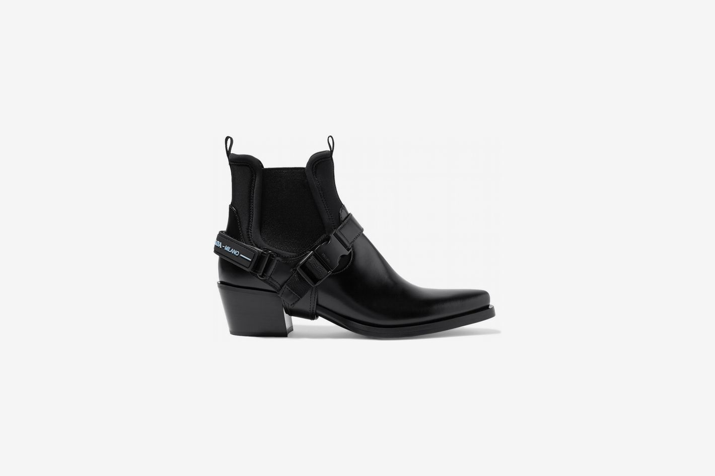 0b248395354ad Prada Leather and Neoprene Ankle Boots