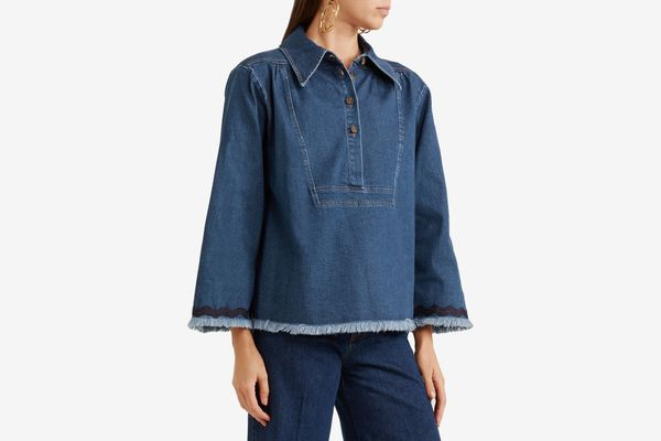 See by Chloé Ric Rac-Trimmed Frayed Denim Top