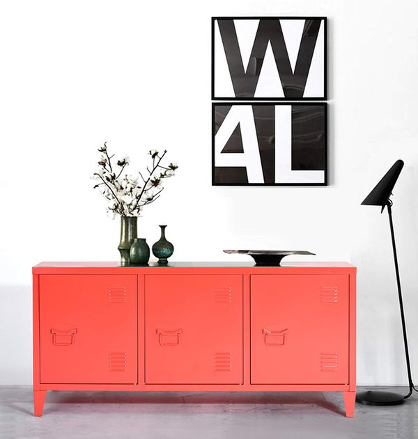 HouseinBox 3-Door Metal Cabinet Organizer, Red, 48 Inches Wide