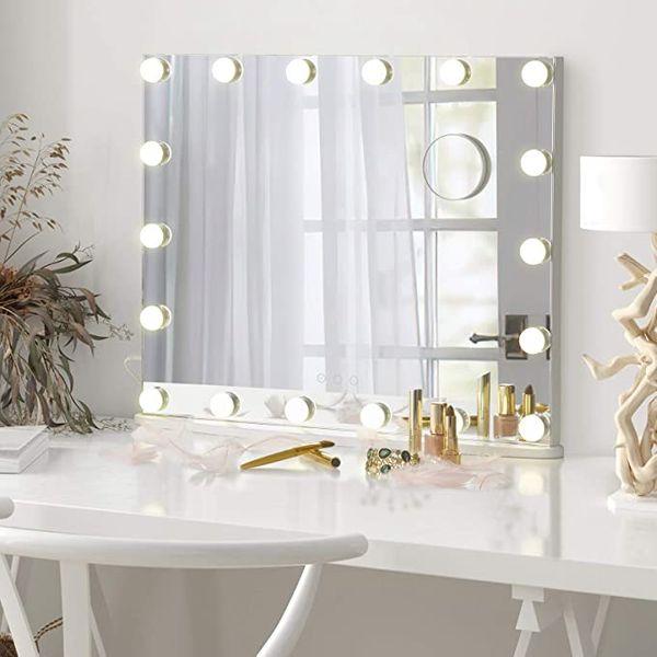 LUXFURNI Vanity Mirror with Makeup Lights