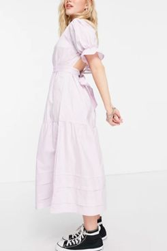 Influence cotton poplin open back midi dress in lilac