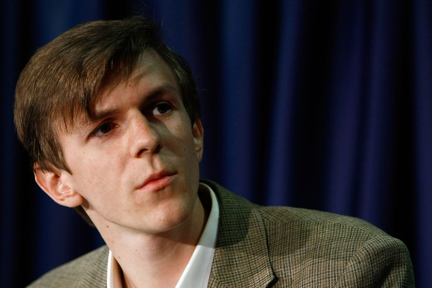 """James O'Keefe, the producer of """"ACORN Revealed: The Philadelphia Story"""" takes part in a press conference at the National Press Club October 21, 2009 in Washington, DC. During the  press conference Andrew Breitbart showed new video material as well as new footage of ACORN officials."""