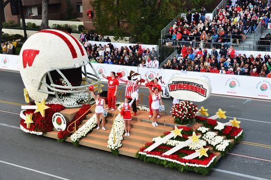 The University of Wisconsin float participates in the 124th Tournamernt of Roses Parade on January 1, 2013 in Pasadena, California.