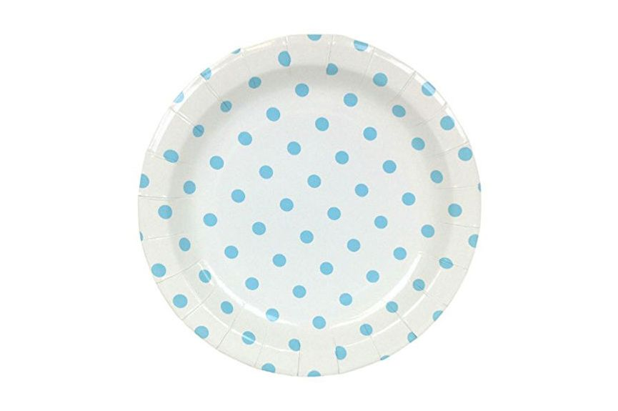 Just Artifacts Round Paper Party Plates 9-Inch (12 Pieces) — Baby Blue Polka Dot