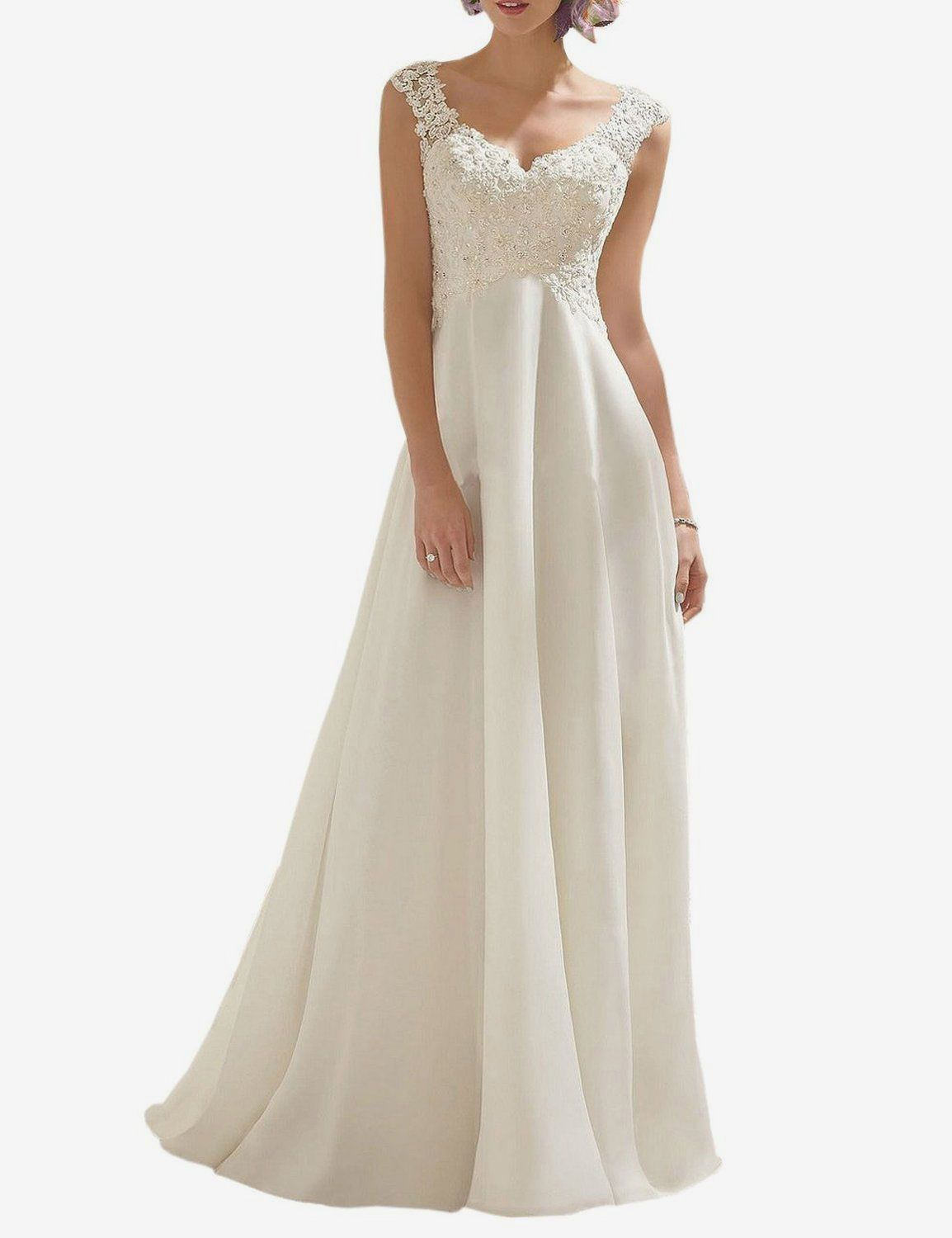ABaowedding V-Neck Sleeveless Lace Wedding Dress
