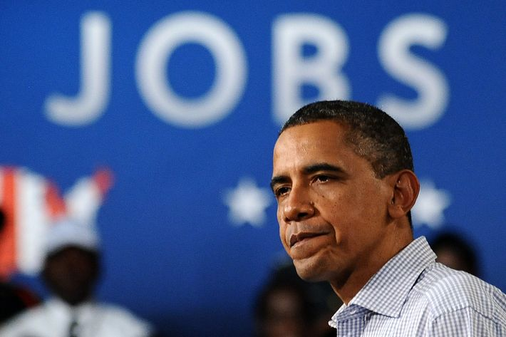 US President Barack Obama speaks at Greensville County High School in Emporia, Virginia, on October 18, 2011 during the second day of his three-day American Jobs Act bus tour to discuss jobs and the economy. The three-day tour through North Carolina and Virginia -- states Obama narrowly won in 2008 -- marks his latest effort to generate support for a $447 billion jobs bill blocked by Republican lawmakers in Washington. The White House has touted the jobs bill as a shot-in-the-arm for the  economy and accused Republicans of playing politics by blocking it, as Democrats have vowed to break it down and bring votes on each of its components. AFP Photo/Jewel Samad (Photo credit should read JEWEL SAMAD/AFP/Getty Images)
