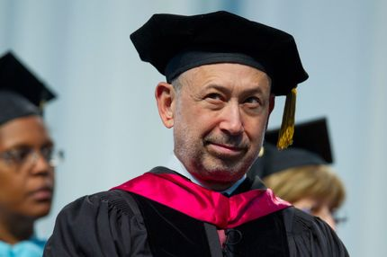 Lloyd Blankfein, chief executive officer of Goldman Sachs Group Inc., waits to be seated during the LaGuardia Community College 2013 commencement at the Jacob K. Javits center in New York, U.S., on Thursday, June 6, 2013. Blankfein told the graduating class that associating with ambitious people is one key to success in life.