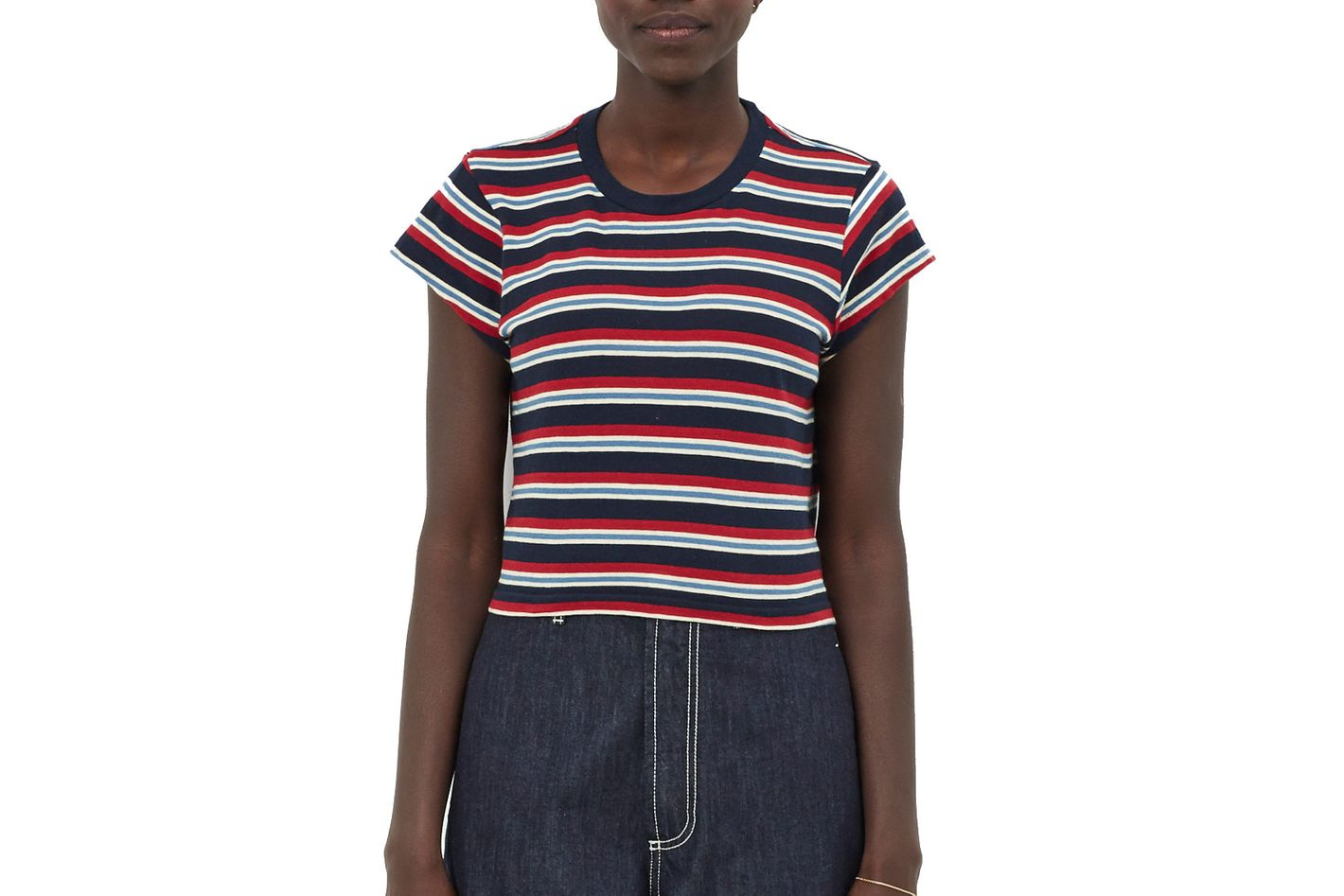 Re/Done Multi-Stripe Boxy Tee