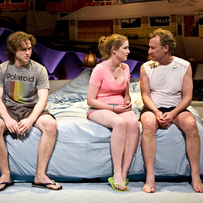 Intimacy by Thomas Bradshaw.. Pictured L-R: Austin Cauldwell, Ella Dershowitz, Daniel Gerroll.