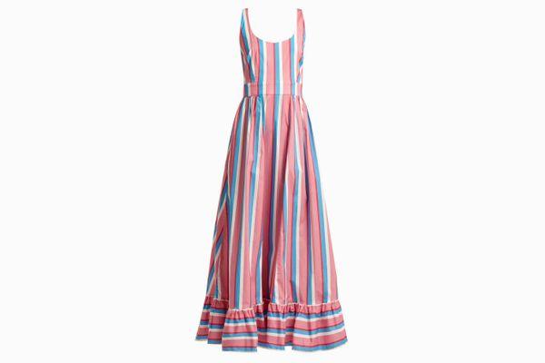 STAUD Eunice striped cotton-blend dress