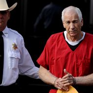 BELLEFONTE, PA - OCTOBER 09: Former Penn State assistant football coach Jerry Sandusky leaves the Centre County Courthouse after being sentenced in his child sex abuse case on October 9, 2012 in Bellefonte, Pennsylvania. The 68-year-old Sandusky was sentenced to at least 30 years and not more that 60 years in prison for his conviction in June on 45 counts of child sexual abuse, including while he was the defensive coordinator for the Penn State college football team. (Photo by Patrick Smith/Getty Images)