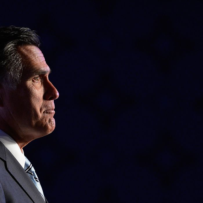 LOS ANGELES, CA - SEPTEMBER 17: Republican presidential candidate, former Massachusetts Gov. Mitt Romney addresses the U.S. Hispanic Chamber of Commerce's 33rd annual national convention on September 17, 2012 in Los Angeles, California. Romney's campaign staff says it plans to retool their message by being more specific of Romney's policies. (Photo by Kevork Djansezian/Getty Images)