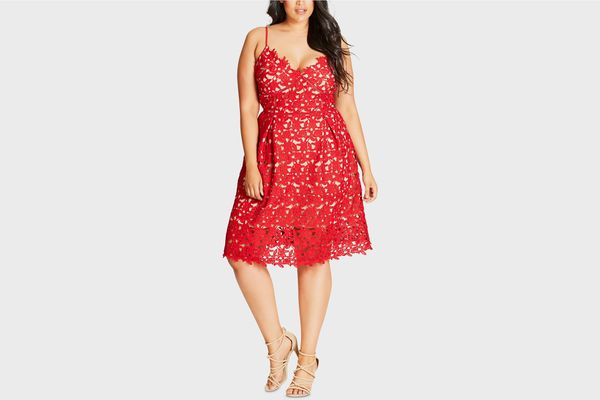 City Chic Plus Size Trendy So Fancy Lace Dress