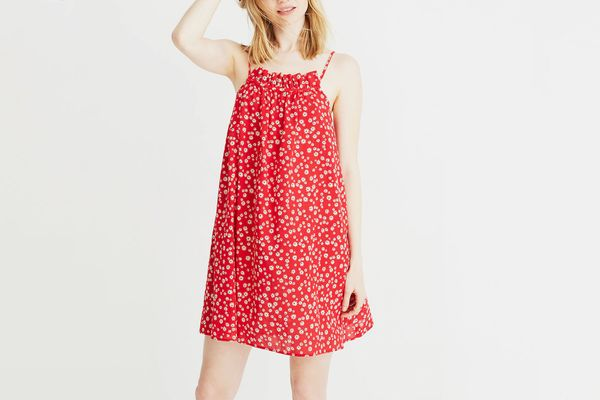 Madewell Ruffle-Neck Cover-Up Mini Dress in Daisy Field