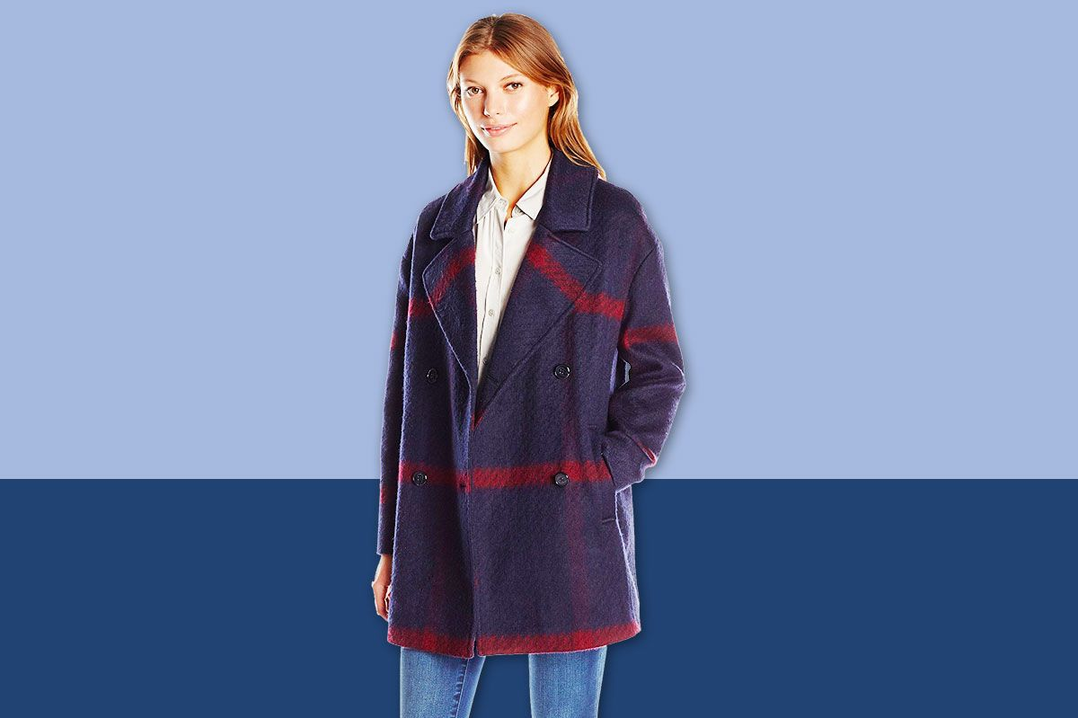 Tommy Hilfiger Women's Double-Breasted Oversized Plaid Wool Coat