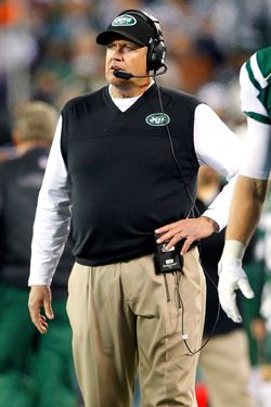 Head coach Rex Ryan of the New York Jets during a game against the New England Patriots at MetLife Stadium on November 22, 2012 in East Rutherford, New Jersey. The Patriots defeated the Jets 49-19.