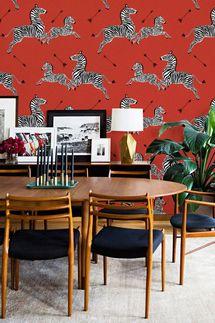 patternsCOLORAY Red Flying Zebra Wallpaper