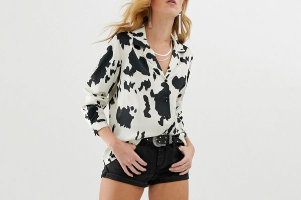 ASOS Design Relaxed Satin Long Sleeve Shirt in Cow Print