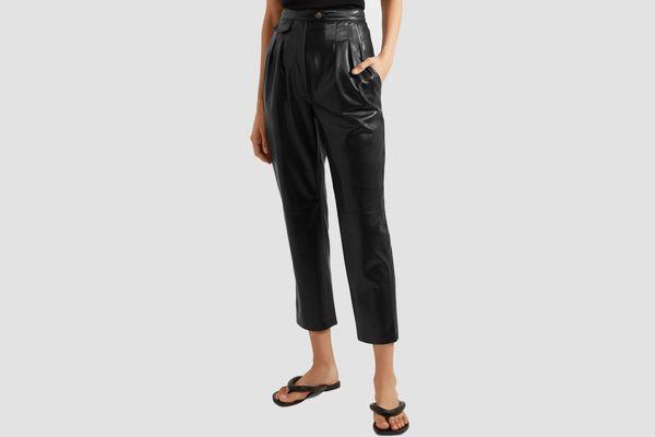 Nanushka Mitsu cropped vegan leather straight-leg pants