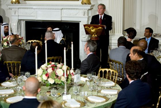 President George W. Bush makes remarks during the Iftaar dinner with ambassadors and Muslim leaders held in the State Dining Room of the White House September 17, 2008 in Washington, DC. The meal marks the end of the daily fast being held for the Isamic month of Ramadan.