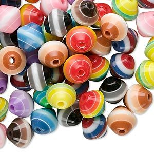 Multicolored Laminated Acrylic Double Cone Beads